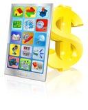 Mobiele telefoon en gouden dollarteken Royalty-vrije Stock Foto's