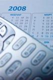 Mobiele telefoon en kalender 2008 Stock Foto
