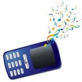 Mobiele telefoon en muzieknota's. Stock Foto