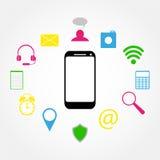 Mobiele telefoon en pictogrammen Royalty-vrije Stock Afbeeldingen
