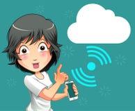 Mobiele telefoon en wolkenverbindingstechnologie royalty-vrije illustratie