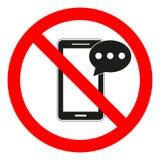 Mobiele telefoon gebruikende en texting beperking Texting en het roepen worden niet toegestaan Geen celtelefoon Celtelefoon het g stock illustratie