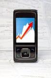 Mobiele telefoon, grafiek, diagram Royalty-vrije Stock Foto's