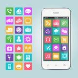 Mobiele telefoon met app pictogrammen stock illustratie