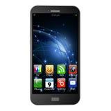 Mobiele telefoon met apps op witte achtergrond, illustrati van de celtelefoon royalty-vrije illustratie