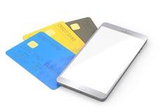 Mobiele telefoon met creditcard Stock Afbeelding