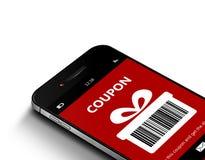 Mobiele telefoon met de coupon van de Kerstmiskorting over wit royalty-vrije stock foto's