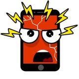 Mobiele telefoon met een kwaad gezicht Beeldverhaal vlakke illustratie royalty-vrije illustratie
