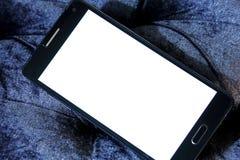 Mobiele telefoon met exemplaarruimte op het witte scherm stock afbeelding