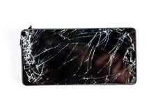 Mobiele telefoon met het gebroken scherm Stock Afbeeldingen