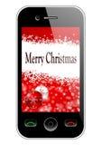 Mobiele telefoon met Kerstmisachtergrond Royalty-vrije Stock Foto's