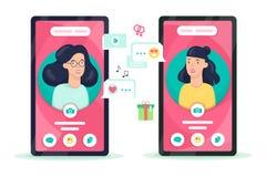 Mobiele telefoon met persoonsavatar op het scherm stock illustratie