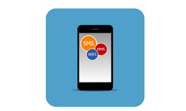 Mobiele telefoon met pictogrammen Stock Foto's