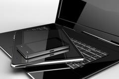Mobiele telefoon met stootkussen en laptop royalty-vrije illustratie