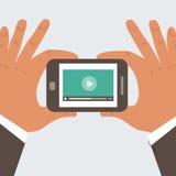 Mobiele telefoon met videospeler Stock Afbeeldingen