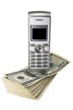Mobiele telefoon op dollars Royalty-vrije Stock Afbeelding