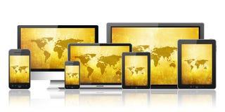 Mobiele telefoon, tabletpc, laptop en computer Royalty-vrije Stock Afbeelding