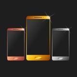 Mobiele telefoon Zilver, brons en goud Royalty-vrije Stock Afbeeldingen