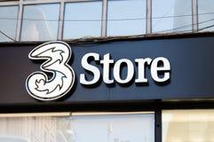 3 mobiele telefoonexploitant Een merk van CK Hutchison Holdings stock foto's