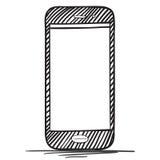 Mobiele Telefoonhand Getrokken Vectorillustratie Royalty-vrije Stock Afbeelding
