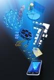 Mobiele telefooninhoud Stock Fotografie