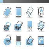 Mobiele telefoons. De vector reeks van het embleemmalplaatje. Stock Foto's