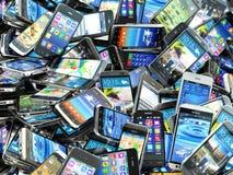 Mobiele telefoonsachtergrond Stapel van verschillende moderne smartphones stock illustratie