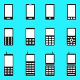 Mobiele telefoonsinzameling van zwart-wit symbolen Stock Afbeelding