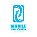 Mobiele telefoontoepassing - vector het conceptenillustratie van het embleemmalplaatje Abstracte smartphone met pijlenteken Het e Royalty-vrije Stock Afbeeldingen