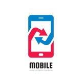 Mobiele telefoontoepassing - vector het conceptenillustratie van het embleemmalplaatje Abstracte smartphone met pijlenteken Het e Stock Fotografie