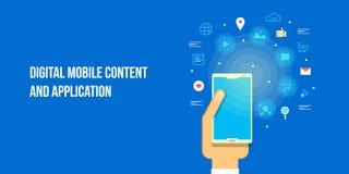 Mobiele toepassing, app marketing, mobiele inhoud, digitaal marketing concept Vlakke ontwerp vectorbanner royalty-vrije illustratie