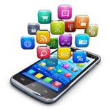 Smartphone met wolk van pictogrammen Royalty-vrije Stock Foto