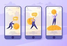 Mobiele toepassingpagina, het schermreeks Concept voor website op bedrijfs en financiënthema Makend geld, handelsinvesteringen Co stock illustratie