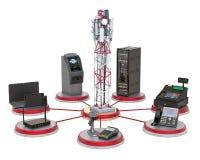Mobiele toren met handel, het bank en van het bureausmateriaal concept het 3d teruggeven royalty-vrije illustratie