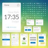 Mobiele vlakke interfaceelementen met kleurrijk Stock Afbeeldingen