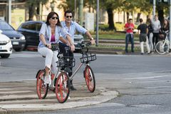 Mobike bike sharing service in Milan, Italy. MILAN, ITALY - SEPTEMBER 23, 2017: now in Milan chinese company Mobike provides an innovative bike sharing service Stock Photos