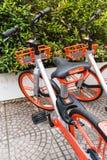 Mobikefietsen, Openbare die fiets op openbaar gebied voor touris wordt geparkeerd stock foto's