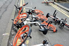 Mobikes dumped in the road, April 8th 2018 in Manchester city ce Stock Photo
