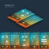 Mobil användargränssnittvektormall Smartphone royaltyfri illustrationer