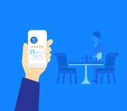 Mobil app för restaurang Arkivbild