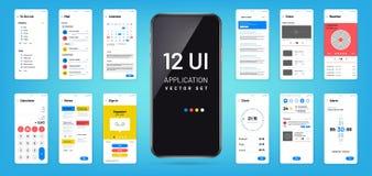 Mobil app interface. Ui, ux screen wireframe templates. Touchscreen application vector design. Illustration of ui application touchscreen, mock-up and gui vector illustration