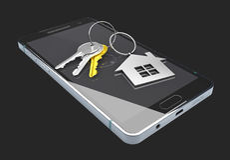 Mobil app-mall Fastighet som bokar app på smartphoneskärmen isoalted svart, illustration 3d Arkivfoto
