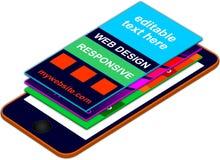 Mobil app-presentation 3D som överst svävar lager av Smart-telefonen Arkivfoto