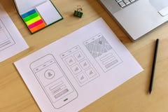 Mobil app-prototyp Royaltyfri Foto
