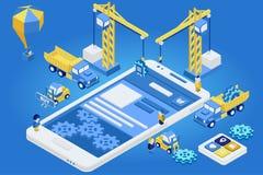 Mobil App-utveckling, erfaret lag Isometrisk plan 3d Royaltyfri Bild