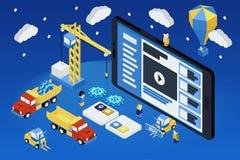 Mobil App-utveckling, erfaret lag Isometrisk plan 3d Arkivbild