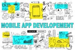 Mobil App-utveckling med klotterdesignstil: nå mer c stock illustrationer