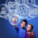 Mobil applikation från molnet Arkivfoto