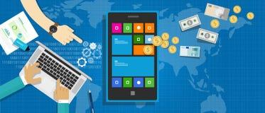 Mobil applikationekonomi royaltyfri illustrationer