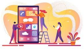 Mobil applikationutvecklingsprocess Teamwork royaltyfri illustrationer